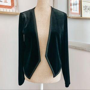 Mossimo Black Velvet Angled Open Blazer Small